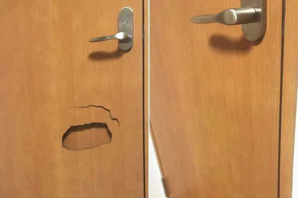 ドアの穴の補修
